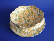 Rare Crown Ducal 'Primula' Chintz Cress Dish and Stand c1930